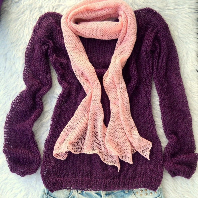 837c333393a30 Purple Handknitted Boho Sweater Comfortable and Soft Mohair