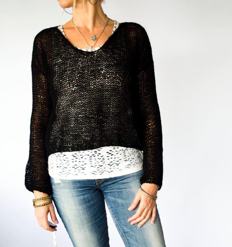 c2f82f48d12 Womens V Neck Black Transparent Knitted Shirt Sweater Sheer