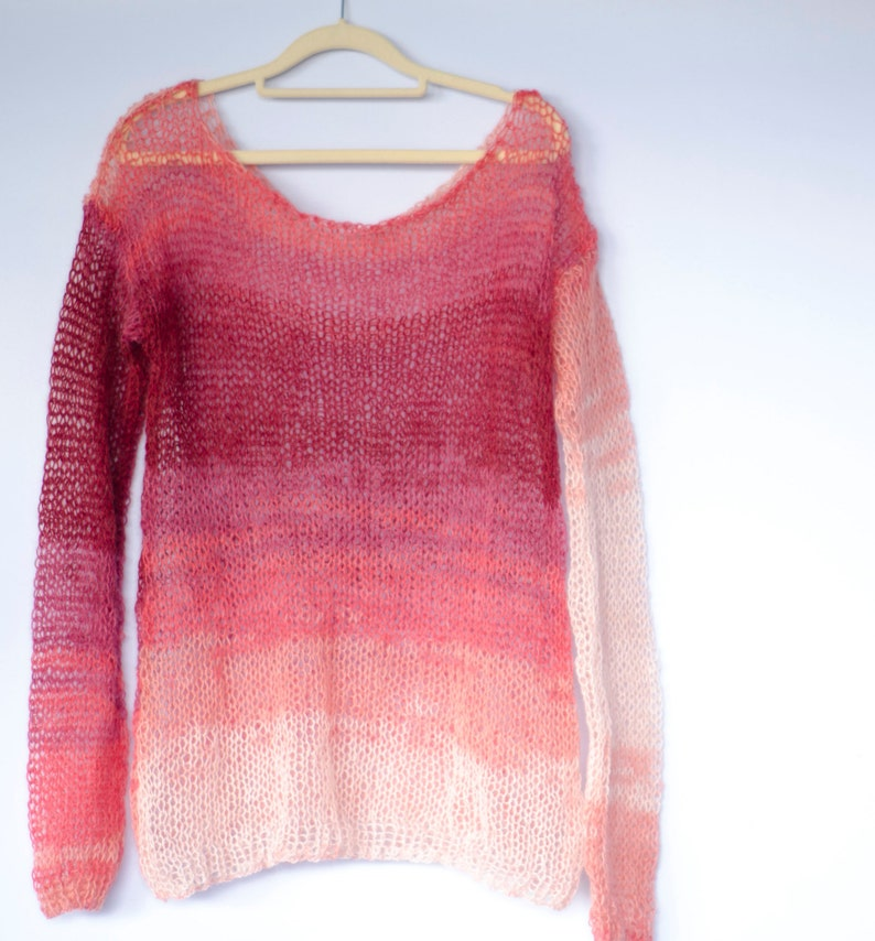 28f18a332f5 Coral Red Mohair Sweater, Long Boho Sweater, Coral Red Knit Top, Oversized  Jumper, Boho Chic, Geeky Gift Sweater, by myAqua