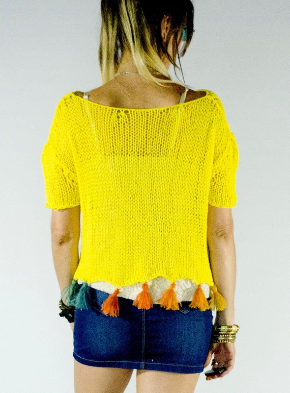 345bcb77f26a9 Hand Knit Summer Top Yellow Fringe Shirt for Women Comfortable