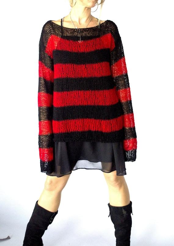 Zwart Rood Gestreepte Trui.Rood Zwart Gestreepte Oversized Mohair Trui Unisex Knitwear Etsy