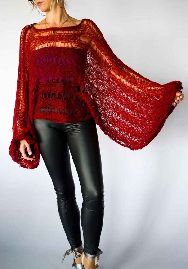 Halloween Outfit for Women Boho Witch Clothing by myAqua Womens Dark Red See Through Mohair Sweater