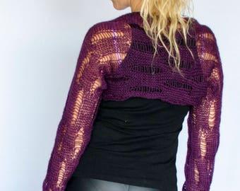 Boho Purple Shrug, Knit Bolero Shrug, Knit Shrug Purple, Hand Knitted Top, Cropped Cardigan, Purple Bolero, Autumn Bolero, Bohochic