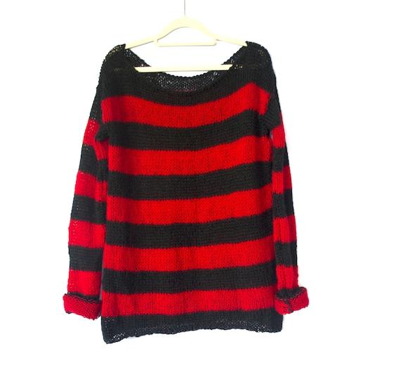 vegan PUNK FAKE MOHAIR JUMPER black red sweater stripe seditionaries Kurt holey