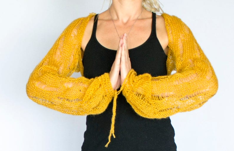 c5788ab7d259 Yellow Knit Bolero Shrug Mohair Cardigan with Balloon
