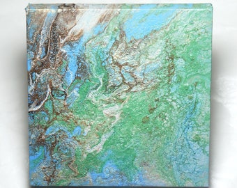 Abstract art marbled painting original green, blue, brown