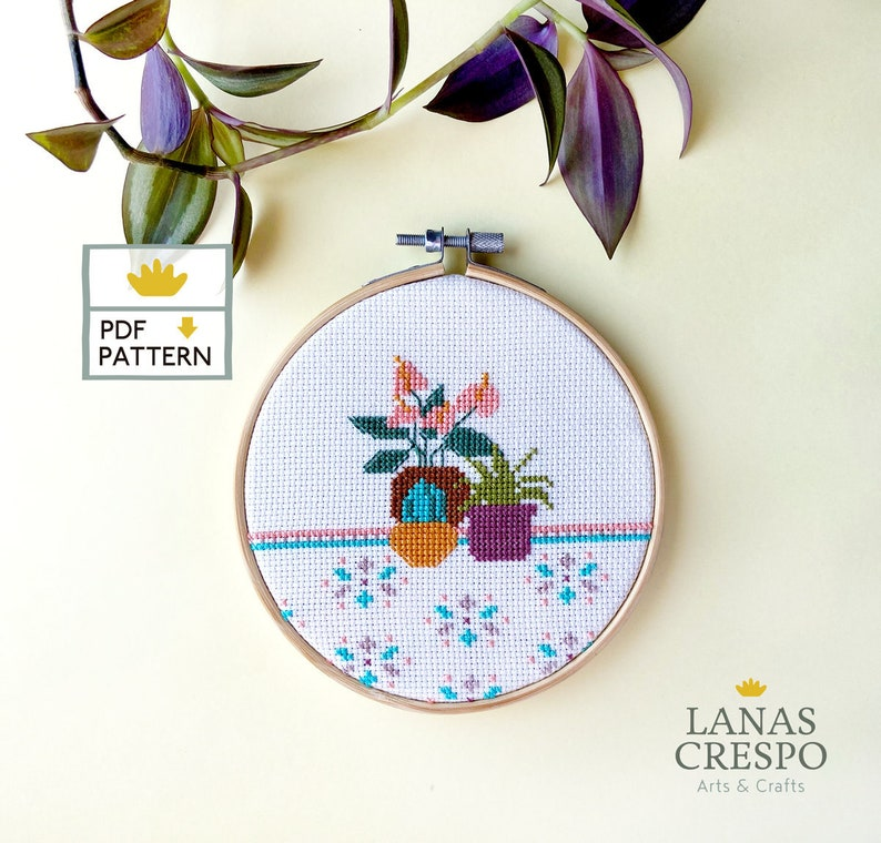 Plants cross stitch pattern modern home decor  Plant Cross image 0