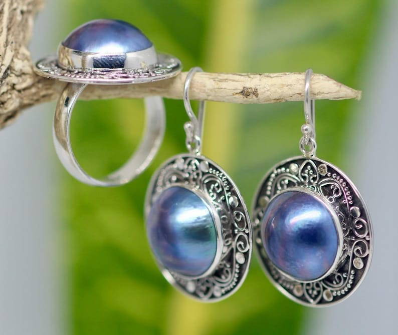 Handmade Sterling Silver .925 Bali Round Blue Mabe Pearl Earrings and Ring Set.