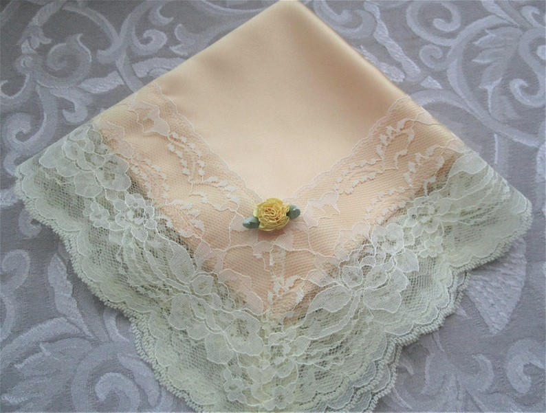 Women Lace Hankies Ladies Handkerchiefs Lap Throw and Cloths CinJas Church Hankies Yellow Satin with Yellow Lace