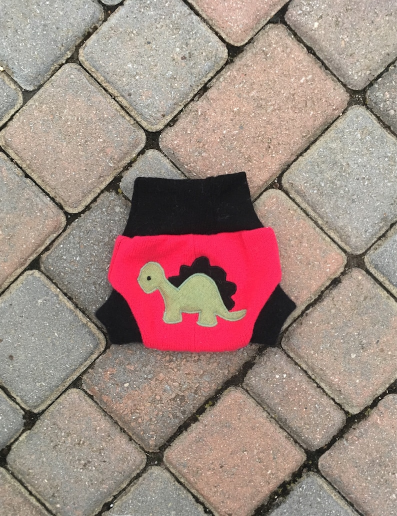 Size Newborn Upcycled Cloth Diaper Cover Bright Pink with a Dinosaur Applique Wool Shorties with Added Doubler in Wetzone