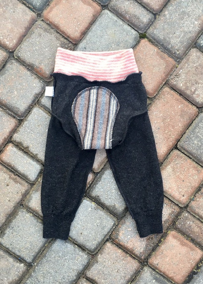 dark grey with a happy lion applique cloth nappy cover wool pants Cloth diaper cover size large upcycled longies wool soaker cover