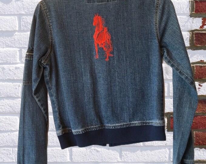 Cool Jean Jacket! Horse embroidery SZ XXS