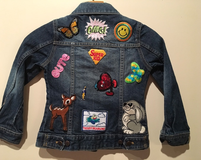 Girls Size 6/7 Jean patch jacket