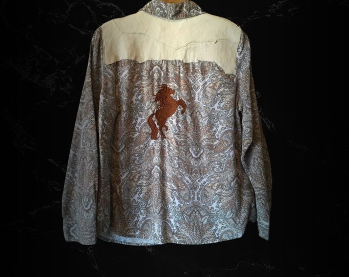 Genuine Leather with Studs/Horse embroidery SZ L