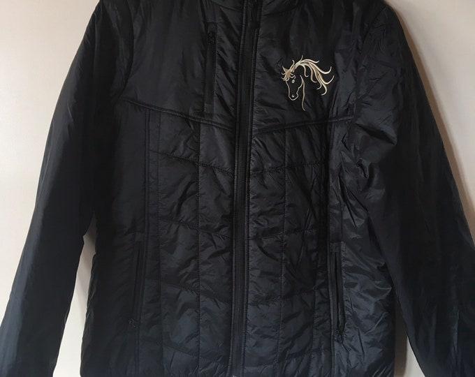 Super LIGHTWEIGHT zip up jacket, horse embroidery!