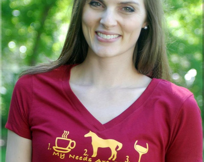 Coffee, Horses, Wine V Neck Top