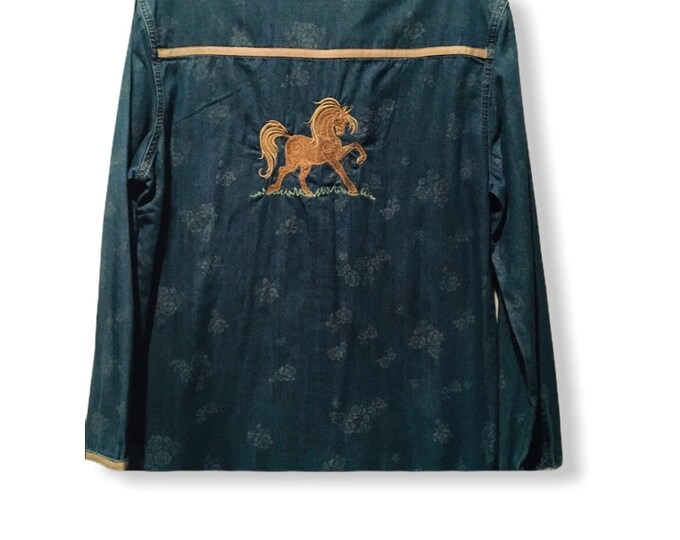 Soft denim horse shirt SZ L
