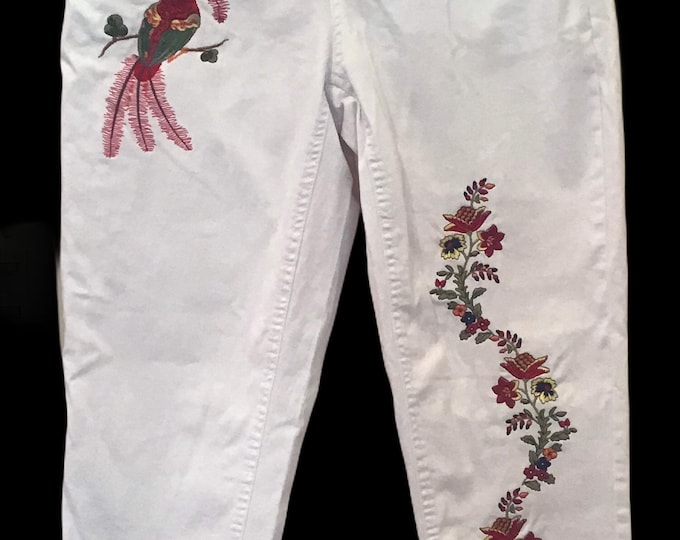 Embroidered White Jeans SZ 14W