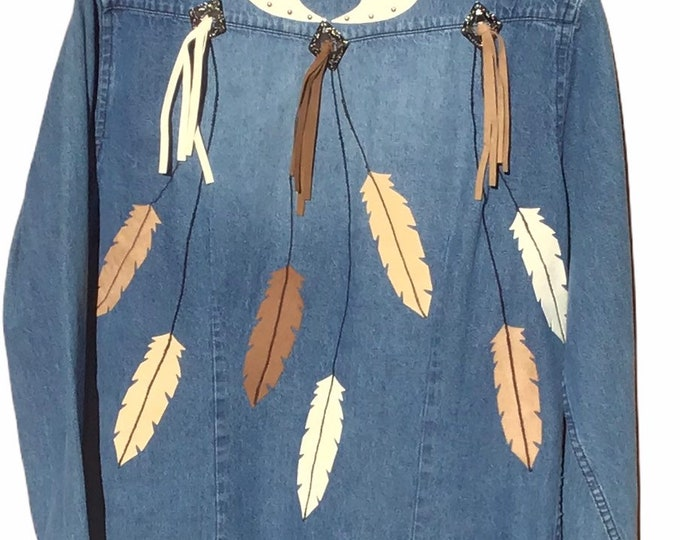 Feathered Denim top SZ L