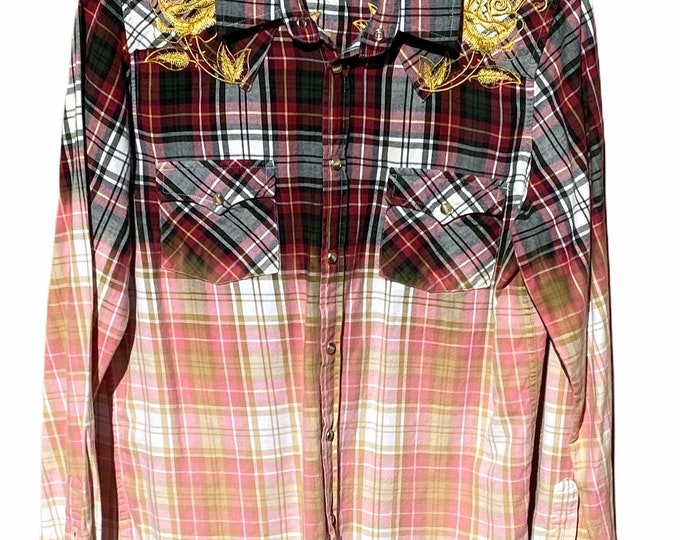 Ombré flannel embroidered sz XL