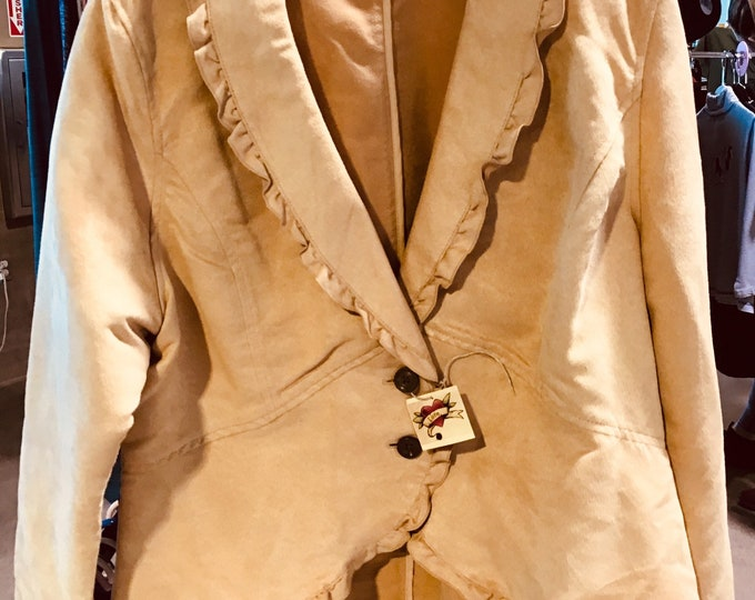 flowy faux suede jacket, SZ XL