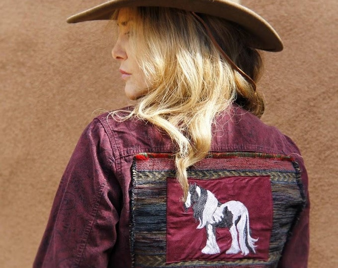 Upcycled Boutique Gypsy Vanner top, SZ M  SALE!!!!