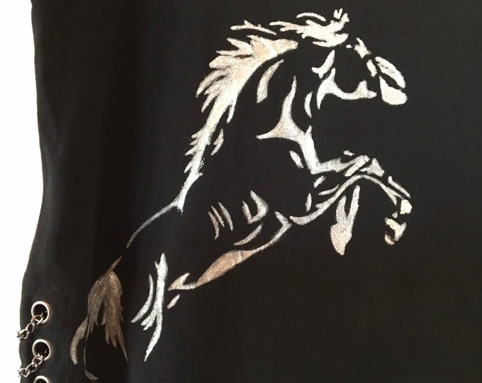 Silver paint rearing horse!!! Back in black with CHAINS!! SZ XL