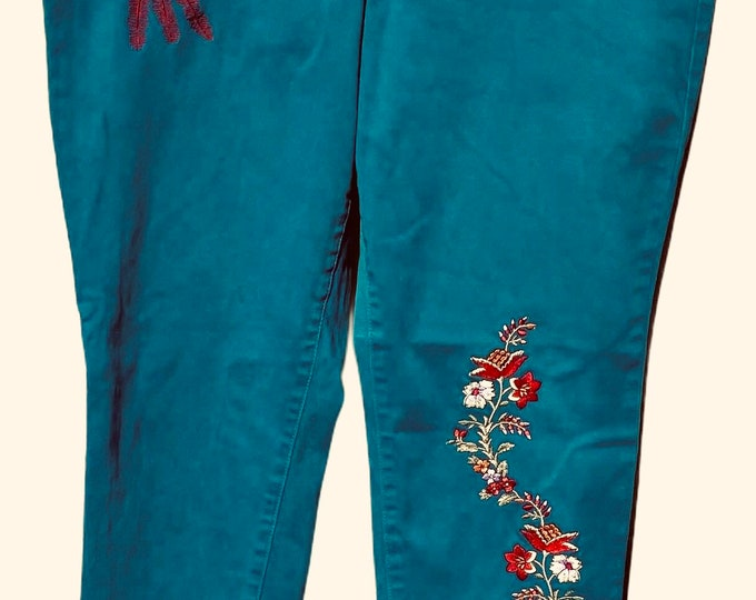 Skinny low rise embroidered Jeans SZ 14