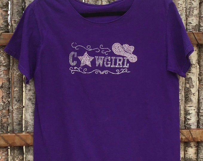 Cowgirl purple bling top SZ M