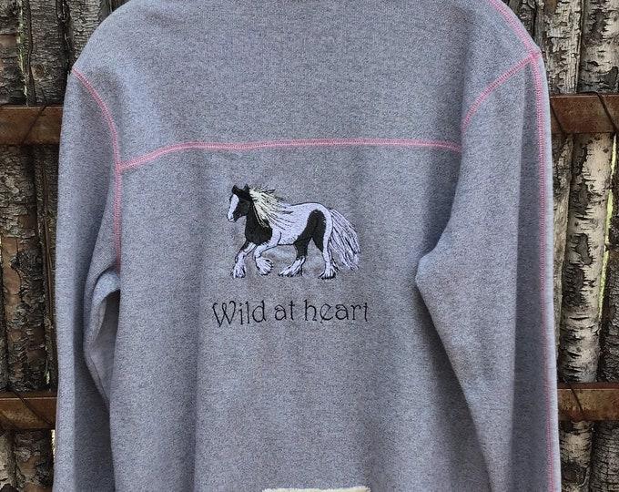 Cute, gray/pink zip front jacket! SZ L