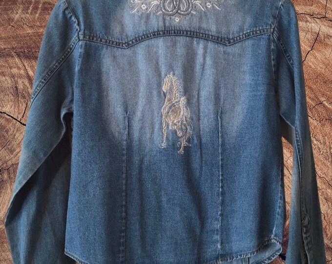 Denim horse shirt SZ M