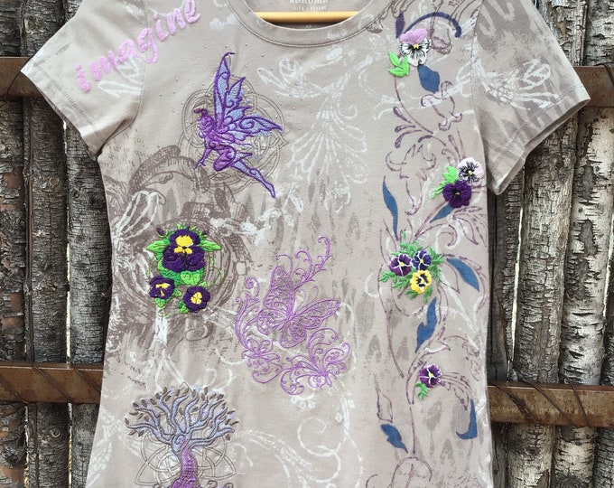 Embroidered V Neck ladies SZ  XXS