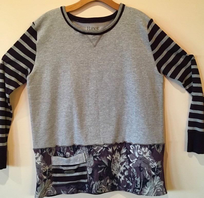 Totally Upcycled Sweatshirt Tunic SZ XL