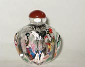 Spectacular Handpainted Glass Snuff Bottle, Vintage Glass Reverse Inside Painted Four Figure Agate Topped Bottle