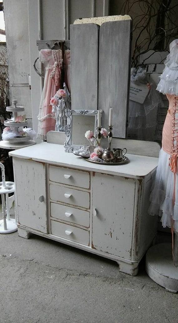 Specchio vintage Cassettiera in Shabby Chic