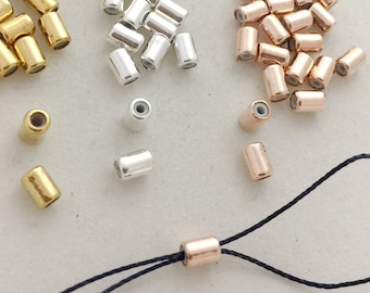 20 STOPPER Beads 6.5mm 7225 1.3mm Silicone Rubber Hole 6.5x3.5mm Antiqued Bronze Plate Round Slider Adjustable Bead DIY Bracelets