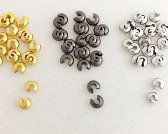 9x3.5mm Brass Bead Tips Gunmetal Bead Tip 3mm inner diameter Gold Bead Tip Knot Covers Mixed Colors Metal Bead Tip Metal Mixed Lot