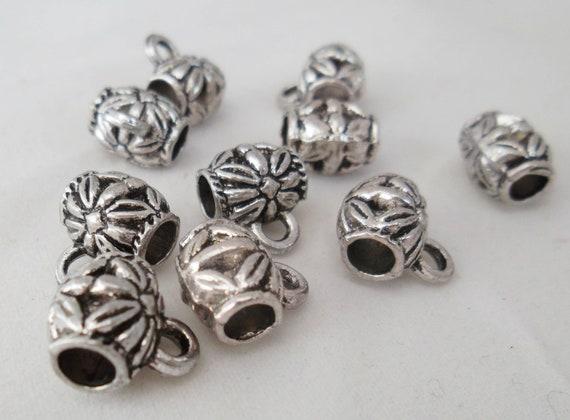 10//30pcs Tibetan Silver Crystal  bead beads Connectors Bails Antique Gold 11mm