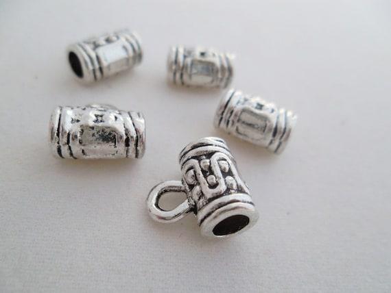 10 pcs-(10 x 6 mm) sculpté, alliage, argent Antique bélières perles Tubes. Livraison gratuite
