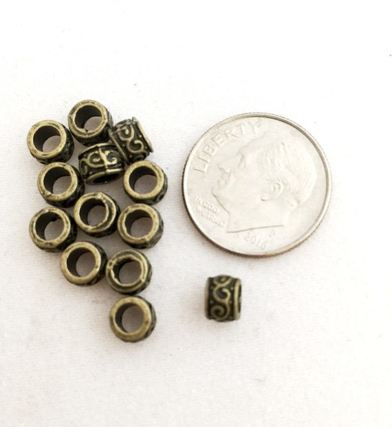 ANTIQUE SILVER~TUBE~TIBETAN STYLE~SPACER BEADS~13 x 6 MM~3.5 MM HOLE