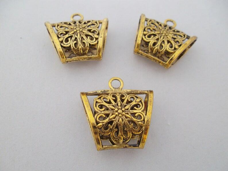 Jewellery Making Antiqued Brass 25mm Flower Filigree Wrap//Bead Cap x5