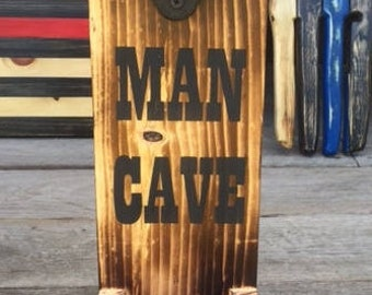 Man Cave Beer Opener Can be Personalized for FREE