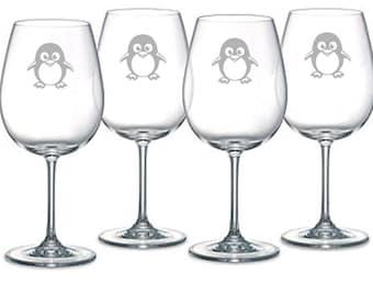 Penguin Choice of Pilsner, Beer Mug, Pub, Wine Glass, Coffee Mug, Rocks, Water Glass  Sand Carved ( Etched, sandblasted)