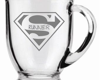 Super Runner  Choice of Pilsner, Beer Mug, Pub, Wine Glass, Coffee Mug, Rocks, Water Glass Sand Carved (Etched)