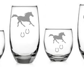 Horse / Horseshoe Western Glass Set of 8 Sand Carved