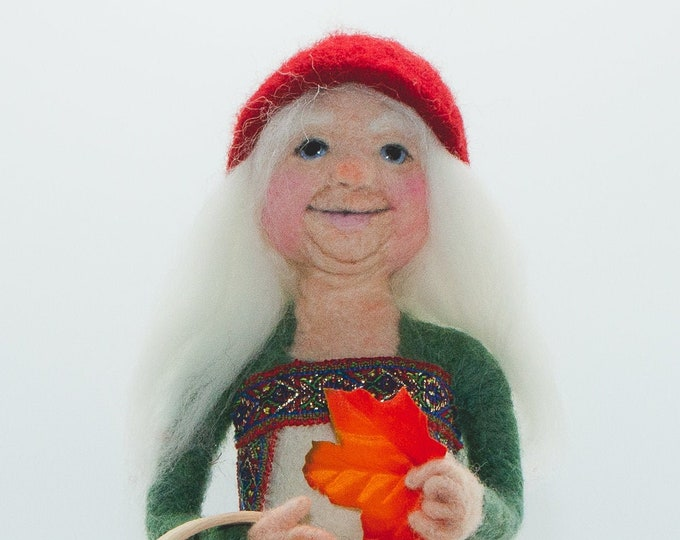 Needle Felted Gnome,  Elf, Forest spirit ,Mrs. Santa doll,  Art Doll, Fiber Art, Collectable Doll
