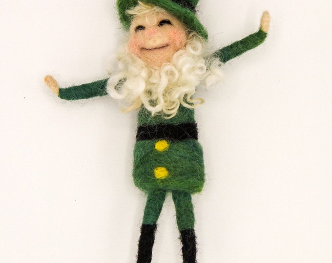 Bendy Leprechaun, felt Leprechaun, art doll