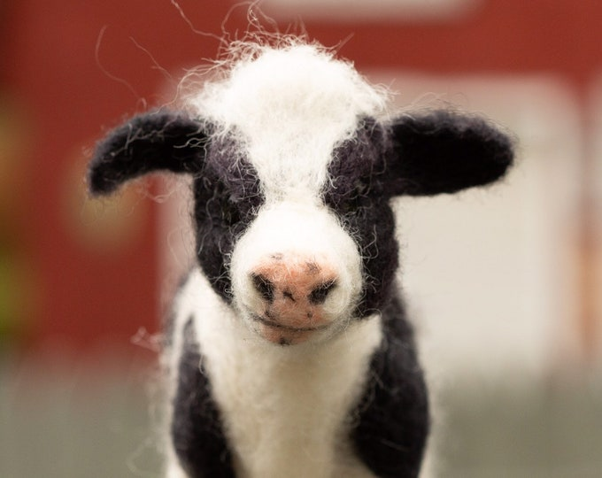 Cow, Holstein Cow, Felted Cow, art doll, black and white cow