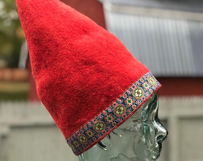 Wet felted Wool Gnome Hat, fairy hat, Tomten hat