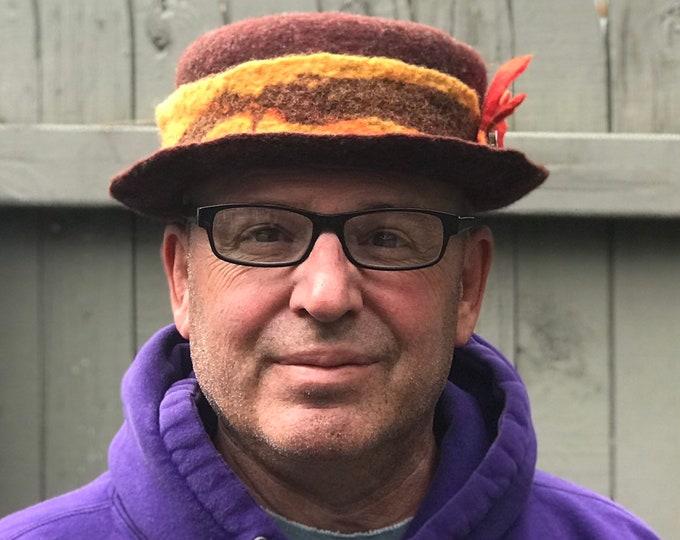 Autumn Fedora, hat, handmade wool hat, hand felted hat